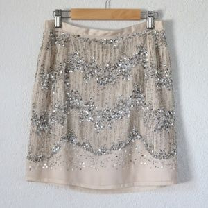 H&M Nude and Silver Sequin Skirt SZ:4